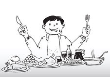 Buffet feast. Hand drawn illustration of a man enjoying buffet feast Stock Image