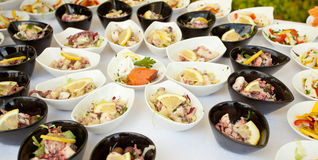 Buffet of fish and shellfish finger food Royalty Free Stock Photos