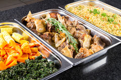 Buffet food. Buffet style food in trays Royalty Free Stock Photos