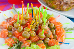 Buffet food. Assortment of catering food served on a plate Royalty Free Stock Image