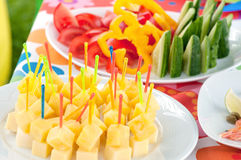 Buffet food. Assortment of catering food served on a plate Royalty Free Stock Photography
