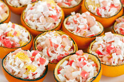 Buffet food. Assortment of catering food served on a plate Royalty Free Stock Images
