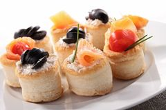 Buffet food. Plate of buffet food, canape Royalty Free Stock Image