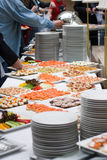Buffet food. Table with a lot of food for stand-up meal in a buffet Royalty Free Stock Images