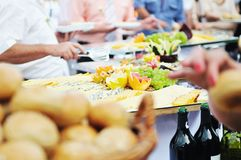Buffet food people Stock Photo