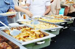 Buffet food people royalty free stock images