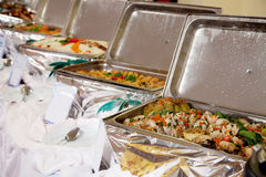 Buffet heated trays Royalty Free Stock Images