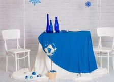 Buffet in het de winterblauw dat wordt gediend Royalty-vrije Stock Afbeelding