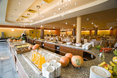 Buffet in hotel dining room Royalty Free Stock Photo