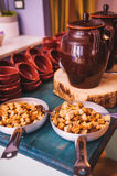 Buffet italiano variopinto e delizioso saporito in ristorante fotografie stock