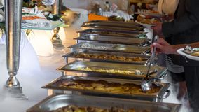 Buffet line of lunch and dinner royalty free stock photos