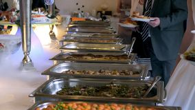 Buffet line of lunch and dinner.  stock video footage