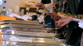Buffet line of lunch and dinner.  stock footage
