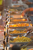 Buffet. The line of self-service restaurant..Buffet trays Royalty Free Stock Photos