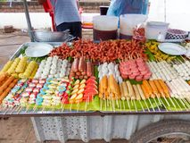 Buffet meal ball, beef ball, sauce, seafoof, cartoon ball, hot d. Og fried and grilled in moblie shop in local market royalty free stock image