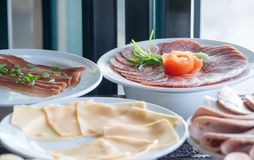 Buffet meal at a hotel,appetizer. Hotel breakfast board all you can eat buffet stock photography