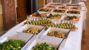 Buffet meals and snacks are on the table