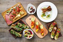 Buffet of Mediterranean snacks flat lay on table stock image