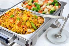 Buffet met paella stock foto