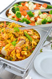 Buffet met paella stock foto's