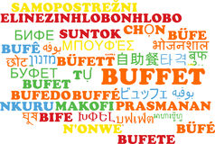 Buffet multilanguage wordcloud background concept Stock Photo