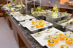 Buffet is a portioned salads on  table Royalty Free Stock Images