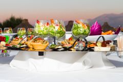Buffet reception shrimp coctail serving. Royalty Free Stock Image