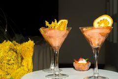 Buffet reception smoked salmon coctail servings. Stock Photography