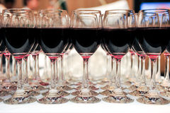 Buffet red wine in glasses Royalty Free Stock Photography