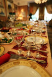 Buffet restaurant cafe hall glass tableware celebration Royalty Free Stock Image
