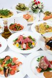 The buffet in the restaurant with different meals Stock Photo
