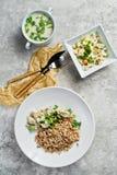Buffet restaurant, menu option, beef Stroganoff, green salad and chicken soup. stock images