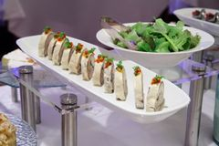 Buffet salad dinner. Buffet food appetizer salad dinner at restaurant Stock Images