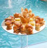 Buffet of savory bread and croissants Royalty Free Stock Photos