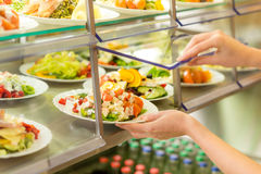 Buffet self service canteen display fresh salad Stock Photography