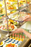 Buffet self service canteen display fresh salad Stock Photos