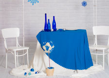 Buffet served in the winter blue Royalty Free Stock Image