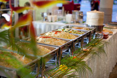 Buffet Setting. Line up of a chaffing dish on a buffet Royalty Free Stock Image