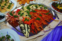 Buffet. snacks, finger food seafood: boiled red crayfish, shrimp and stuffed sturgeon on a large steel dish. Stock Image