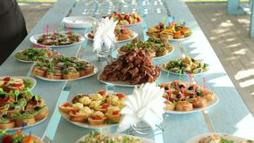 Buffet with snacks at the outdoor event. Buffet with appetizers outdoors stock video footage