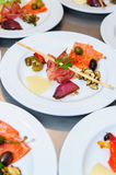 Buffet Style Food On Plates Stock Images