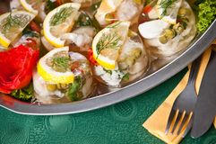 Buffet style marinated fish Stock Image