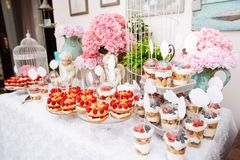 Buffet with sweets. Cakes with raspberries. Sweet table for banquets, weddings, parties royalty free stock images