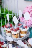 Buffet with sweets. Cakes with raspberries. Sweet table for banquets, weddings, parties royalty free stock photos