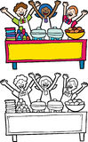 Buffet Table. Cartoon image of servers at a buffet table with blank banner - both color and black / white versions Stock Photo