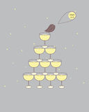 Buffet table. A pyramid from glasses with champagne Royalty Free Stock Photo