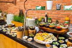 Buffet table for breakfast in the hotel. Cafe stock image