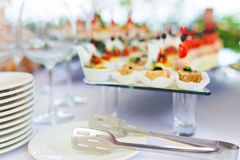 Buffet table. Canape with meat  and vegetable closeup Stock Photography
