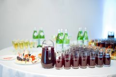Buffet table with colorful non-alcoholic drinks. royalty free stock photo