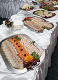 Buffet table. Fast meal. 2 Stock Photos